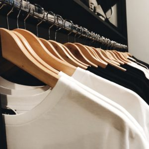 t-shirts in the store / black and white t-shirts
